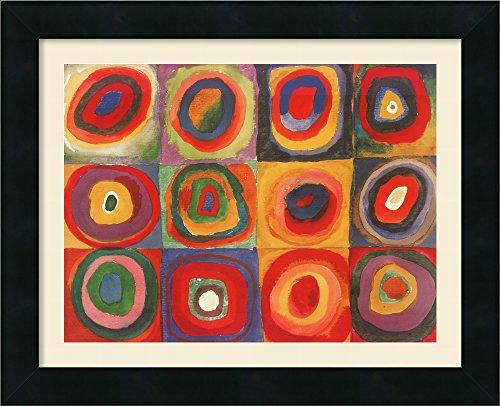 Wassily Kandinsky Artwork - Framed Art Print, 'Farbstudie Quadrate, 1913' by Wassily Kandinsky: Outer Size 16 x 13