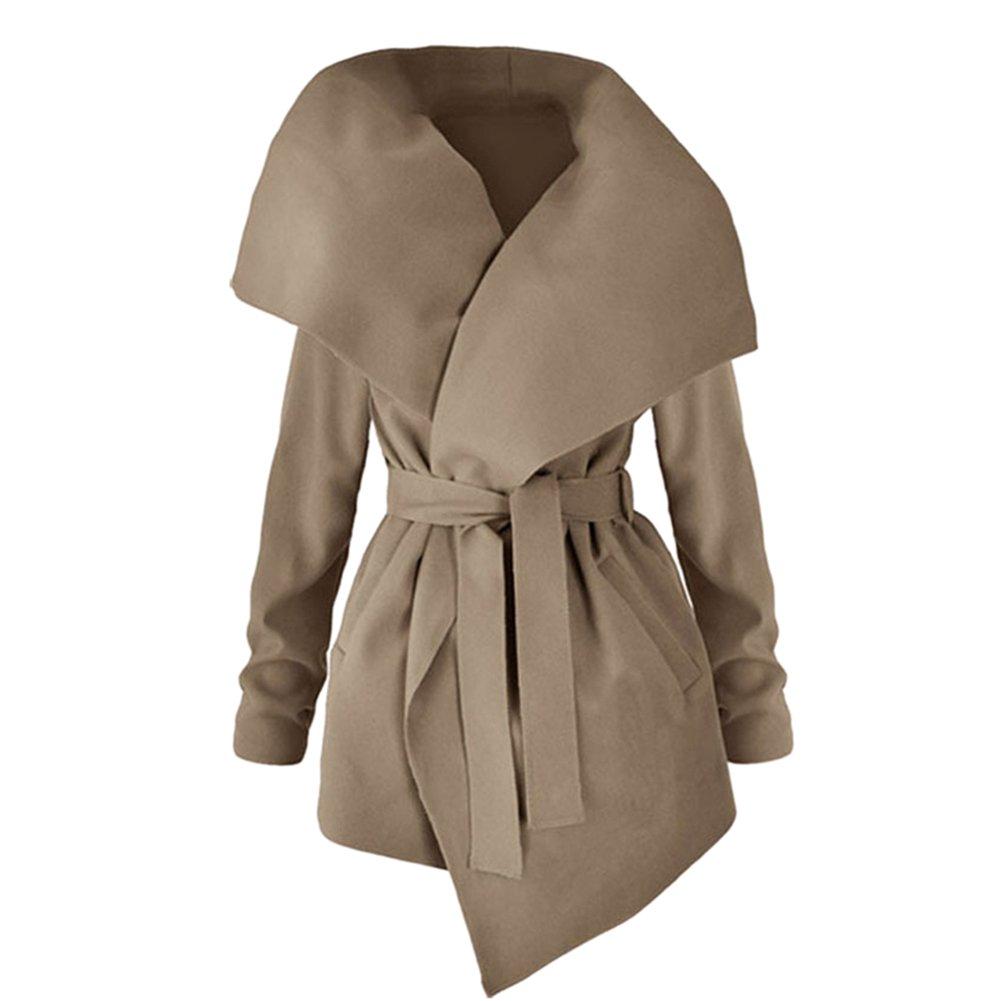 Fashion Story Women Winter Lapel Jacket Long Trench Coat Outwear Belt