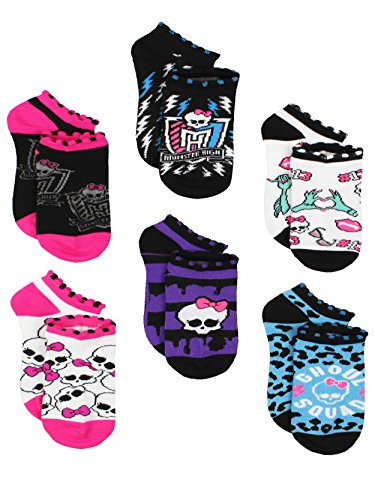Monster High Girls 6 pack Socks (6-8 Girls (Shoe: 10.5-4), Ghoul Squad -