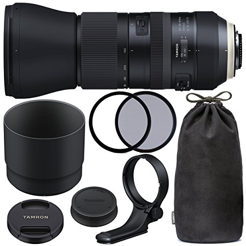 TamronSP 150-600mm f/5-6.3 Di VC USD G2 for Canon EF with 95mm Ultraviolet (UV) Filter, 95mm Polarizing (C-PL) Filter, Tamron Lens Hood, Tamron Case, Tripod Collar & More – International Version
