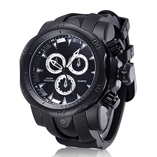 Watch Black Face Rubber Strap - 3
