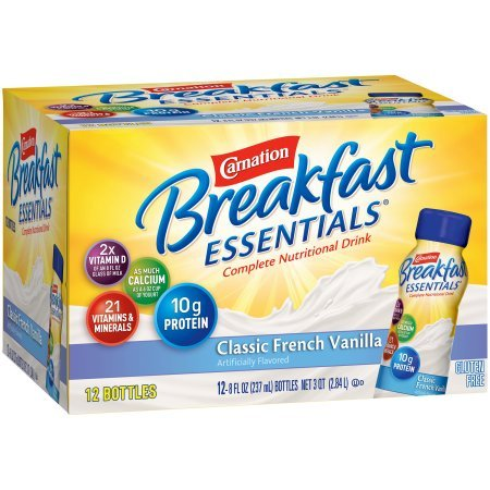 Carnation Breakfast Essentials Ready to Drink, Classic French Vanilla, 8 Fluid Ounce, 12 Count (Pack of 4) by Carnation