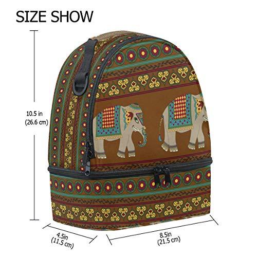Bolsa Picnic Doble Étnico De Ajustable Rayas Elefante Tribales Diseño Correa Con Para Almuerzo Y ZrSfqwZ
