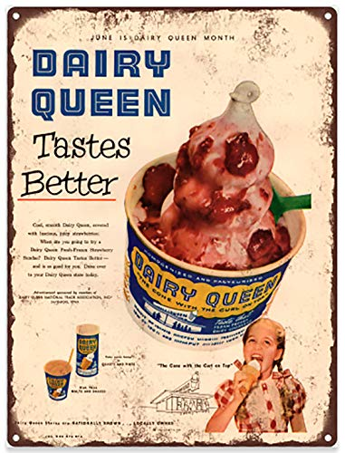 Dairy Queen Ice Cream Ad Advertising Baked Metal Repro for sale  Delivered anywhere in Canada