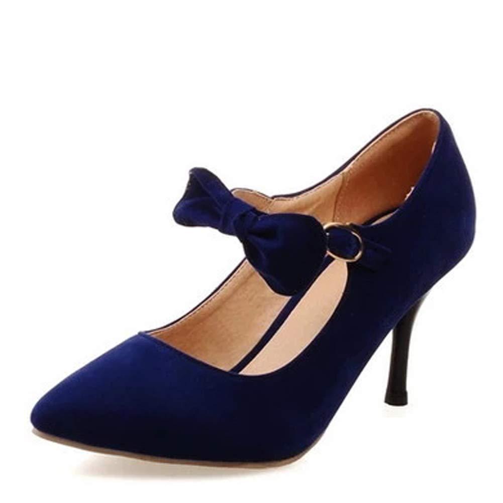 Frauen geschlossen Zehe High Heel Mary Jane Pumps Schnalle Peeling Bogen rote Braut Gericht Schuhe