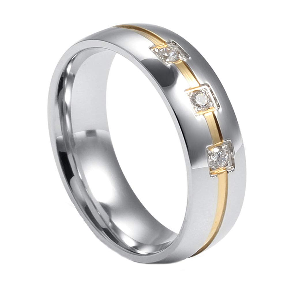 MISAM Men Women Classic Wedding Rings with Bling CZ Stone MISAM JEWELLERY MSLSCR-065CAPA