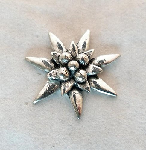 Solid Pewter Edelweiss Flower Pin Badge