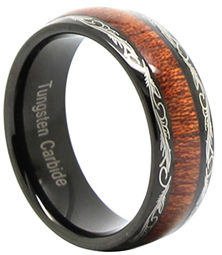 Silver Tungsten Carbide Red Wood Inlaid Men's 8mm Flat Top Wedding Band Ring,Size 10 - Inlaid Wood Top