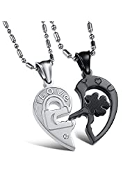 Mintik Jewelry Stainless Steel Men's Womens 2PCS Engraved I Love You Key to Lock Heart Pendant Necklace