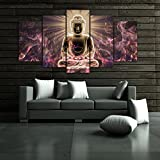 [Mediuml] Premium Quality Canvas Printed Wall Art Poster 5 Pieces / 5 Pannel Wall Decor Buddha Meditation Painting, Home Decor Pictures - With Wooden Frame