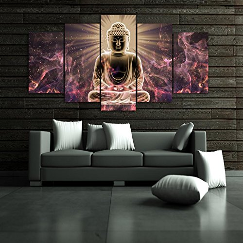 um] Premium Quality Canvas Printed Wall Art Poster 5 Pieces / 5 Pannel Wall Decor Buddha Meditation Painting, Home Decor Pictures - with Wooden Frame ()
