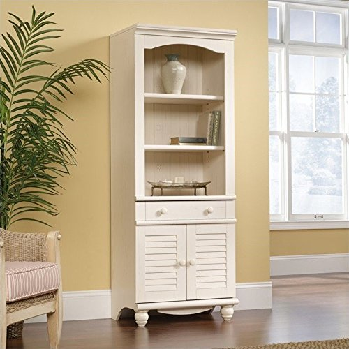 Sauder Harbor View Library with Doors, Antiqued White (Sauder Harbor View Antiqued White)