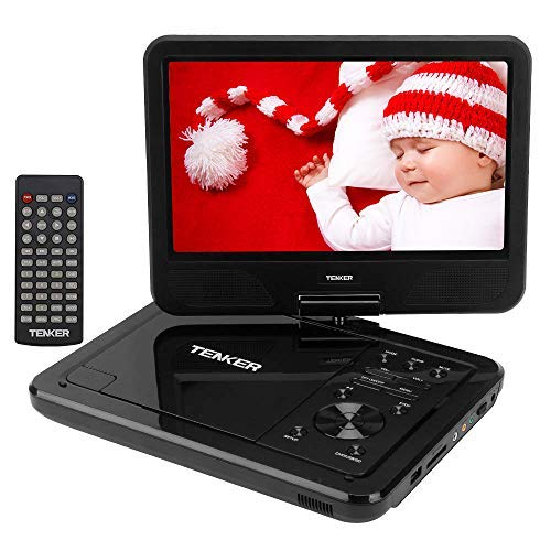 TENKER 12.5'' Portable DVD Player, Built-in 5 Hours Rechargeable Battery with 10.5'' Eyesight Protective HD Swivel Screen, Support USB/SD Card Memory Readers , Regions Free, Black