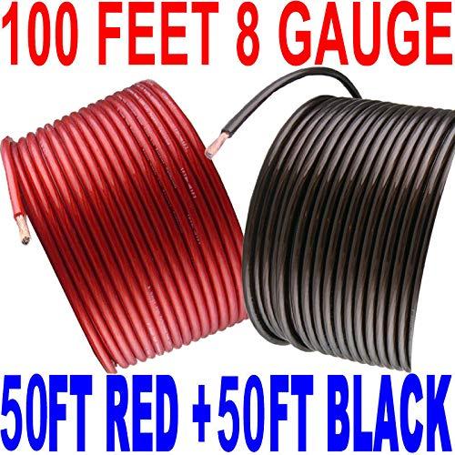 8 Gauge Wire 100 Feet 50 Feet Red + 50 Feet Black Power Ground Hyperflex by Generic