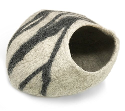 iPrimio 100% Natural Wool Eco-Friendly 40 cm Cat Cave - Handmade Premium Shaped Felt - Makes Great Covered Cat House and Bed for Cats & Kittens - for Indoor Cozy Hideaway - Medium Pod Soft Hooded Bed ()
