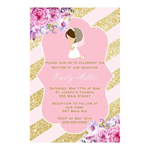 30 Invitations Personalized Girl Praying Communion Pink Gold Floral Photo Paper