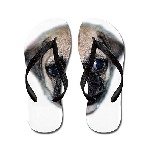 Cafepress Pug Puppy - Flip Flops, Grappige String Sandalen, Strand Sandalen Zwart