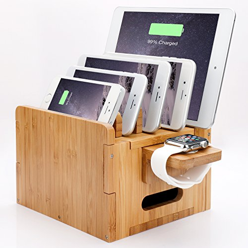 Levin Detachable Baffles Charging Station with Apple Watch Stand Bamboo Charging Organizer for iPhone, iWatch, Samsung,GoPro, Smart Phones & Tablets