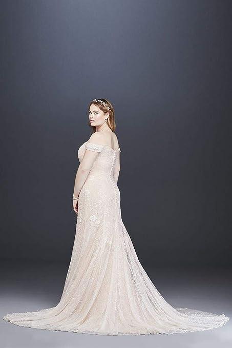 453cd655c0 Swag Sleeve Layered Lace Plus Size Wedding Dress Style 8MS251196 at Amazon  Women s Clothing store