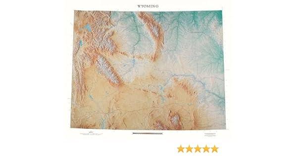 Wyoming topográficos mapa mural de Raven Mapas, laminado impresión ...