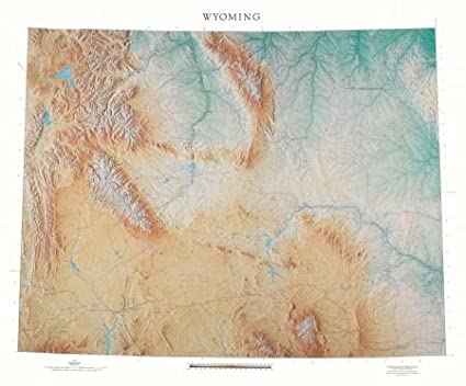 Amazon.com : Wyoming Topographic Wall Map by Raven Maps, Laminated ...