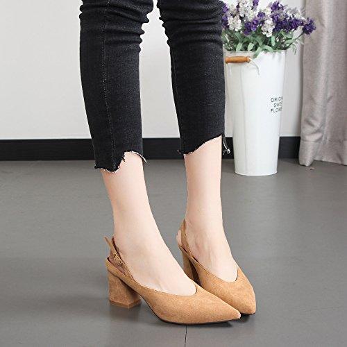 mujer7 de Tacones Cm De Sandalias Baotou Puntiagudas De KPHY Tacon Zapatos Sexy Vendaje Bruto Vacia Camel Mujer Zapatos Zapatos Temperamento De Alto color En Verano E5wqXnxvnC