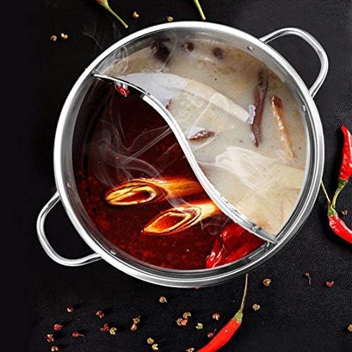 30CM Facile Nettoyer En Acier Inoxydable Hot Pot Shabu Shabu Cuisine Cuisson Durable Double Site Poêle À Gaz D'induction Hot Pot Cuisson Pot Kaemma(Color:silver)