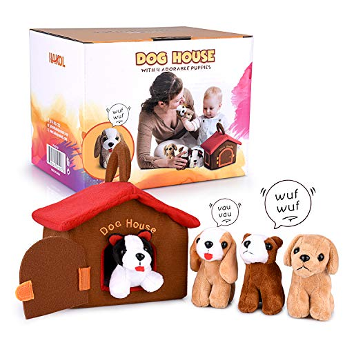 HAKOL Dog House Carrier Educational Toy with 4 Squishy & Barking Puppies Playset - Compact, Soft, Plush, Huggable - Develop Fine Motor Skills, Promote Learning & Empathy, Encourage Imaginative Play