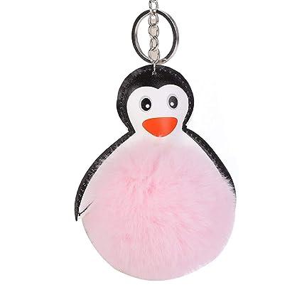 NAttnJf Precioso pingüino Bola de Piel sintética Llavero ...