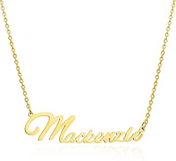 Moronly Personalized Name Necklace for Women 316 Stainless Steel Nameplate Pendant Necklace Hypoallergenic Jewelry(M~P)