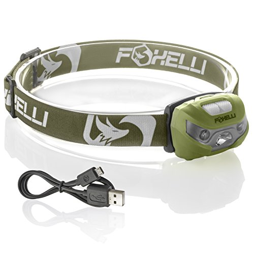 Foxelli USB Rechargeable Headlamp Flashlight - 160 Lumen, up to 30 Hours of Constant Light on a Single Charge, Super Bright White Led + Red Light, Compact, Easy to Use, ()