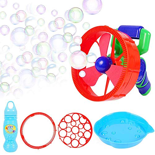 Foonee 2 in 1 Bubble Gun & Handheld Fan Electric Kids Bubble Machine with Two Types Nozzles, Soap Dishes, Bubble Liquid Bottle- Kids Bubble Gun Bubble Fan Gives Kids A Happy Time