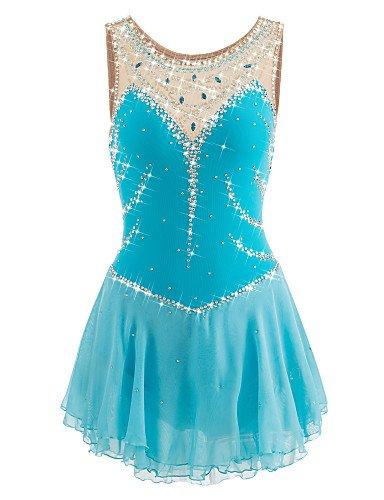 Skating Queen Figure Skating Dress for Girls Women Ice Skating Performance Competition Dress Spandex Elastic Quick Dry Handmade Skating Dress Sleeveless Light Blue, S