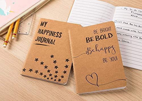 24 Pack Kraft Paper Notebook, Happy Journal (4 x 5.75 in)