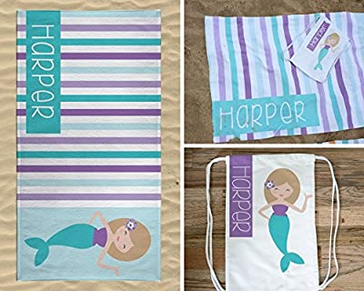 Personalized Mermaid Beach Towel and Bag for Kids, Drawstring Bag Pack for Girls