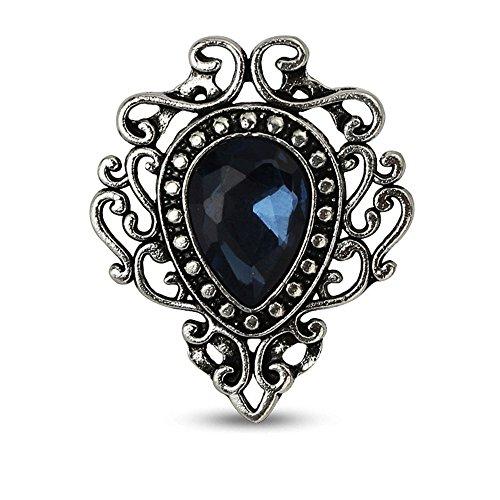 MINGHUA Retro Hollow Flower Waterdrop Gemstone Brooch for Women (Blue)