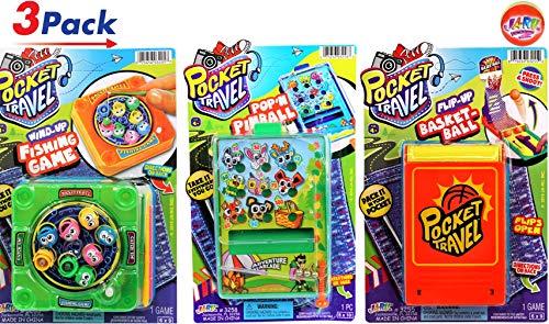 (JA-RU Pocket Travel Games Bundle Set (3 Games) and Bouncy Ball Pinball, Magnetic Face, Basketball & Fishing #)
