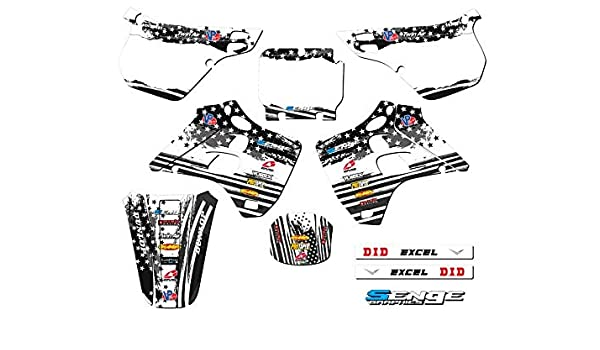 Compatible with Kawasaki 2-STROKE Podium Black Complete Senge Graphics kit 1999-2002 KX 125//250