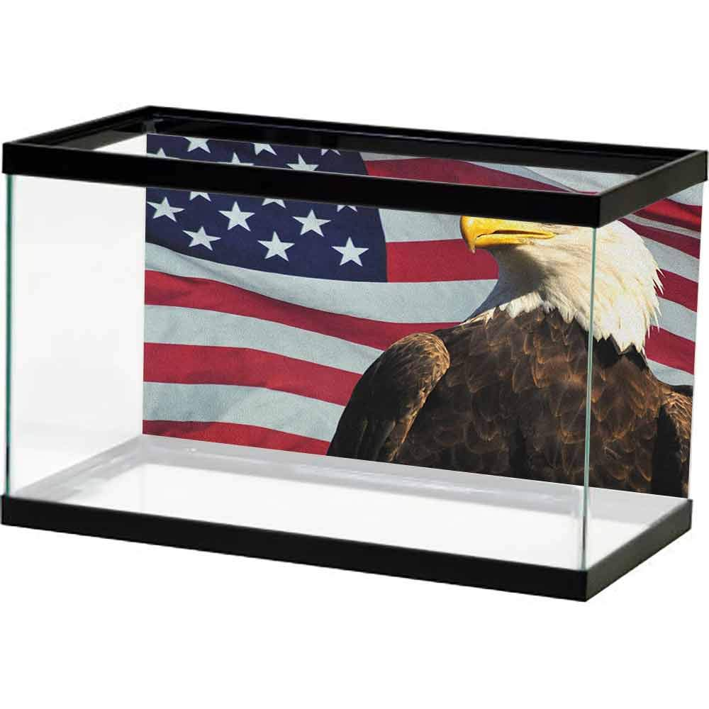 homecoco Aquarium Fish Tank Eagle,United States of America Flag with Symbol of The Country Looking into The Horizon, Multicolor PVC Self-Adhesive Decor Wall by homecoco