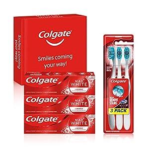 Colgate Kit Blancheur avec Dentifrice Colgate Max White Luminous 75ml et Brosse à dents blancheur Colgate 360 Max White…