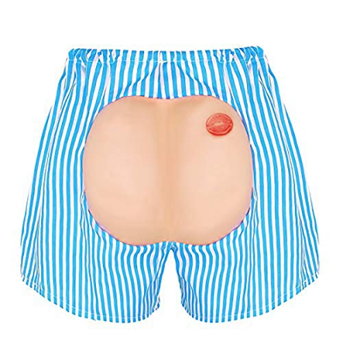Pranks To Pull On Halloween (Alvivi Unisex Men's Funny Buttocks Ass Shorts April Fool Halloween Masquerade Party Prank Trick Props Costume Sky Blue One)