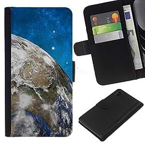 Sony Xperia Z4 / Sony Xperia Z4V / E6508 , la tarjeta de Crédito Slots PU Funda de cuero Monedero caso cubierta de piel ( Space Stars Blue Sky Earth Universe Planet)