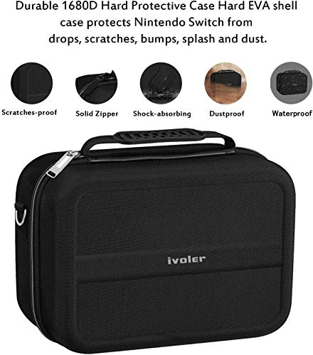 Carrying Storage Case for Nintendo Switch, iVoler PortableTravel All Protective Hard Messenger Bag Soft Lining 18 Games for Switch Console Pro Controller & Accessories Black by ivoler (Image #3)