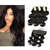 """Indian Body Wave Hair Bundles with Frontal, Re4U Raw Virgin Human Hair Bundles Unprocessed Tangle Free with 13x4 Swiss Lace Frontal (Natural Color 14 16 18 with 12"""" Frontal)"""