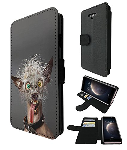 [003012 - Ugliest Dog In The World Scary Eyes Long Design Huawei Honor Magic Credit Card Flip Case Purse pouch Stand Cover] (Scary Magic Eye)