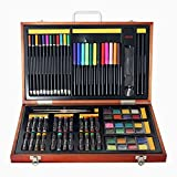 Ybriefbag Wooden Art Set Children's Wooden Box 79 Sets of Painting Set Watercolor Pen Paint Color Lead Oil Painting Art Learning Stationery Set Art Supplies for Drawing