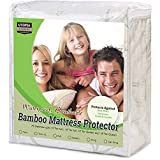 Waterproof Bamboo Mattress Protector - Hypoallergenic fitted Mattress Cover - Breathable Cool Flow Technology - Vinyl Free (Queen) - by Utopia Bedding