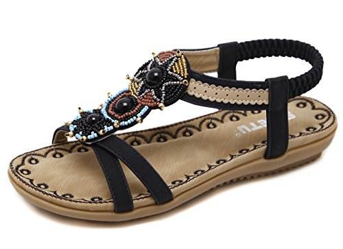 D2C Flat Beauty 2 Beach Women's Thong Sandals Black Rhinestone gngBrxwXq