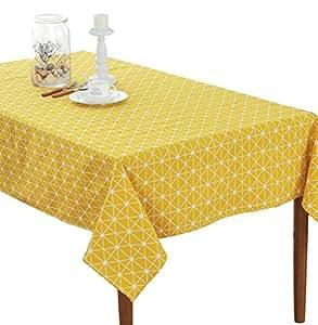 Hosaire Mantel Rectangular Cubierta Mesa de café de tela Manteles Tela del mantel té 140*140CM Gris Color Algodón (Patrón de Puntos Amarillo)