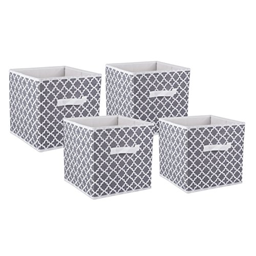 DII Foldable Fabric Storage Containers for Nurseries, Offices, Closets, Home Décor, Cube Organizers & Everyday Use, 11 x 11 x 11, Gray Lattice-Set of 4, Small (4) (Best Way To Break In A First Base Mitt)